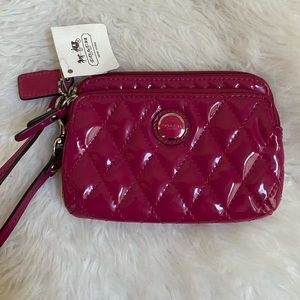 NWT Coach Poppy Glossy Magenta Double Zip Camp Wristlet Wallet 47886